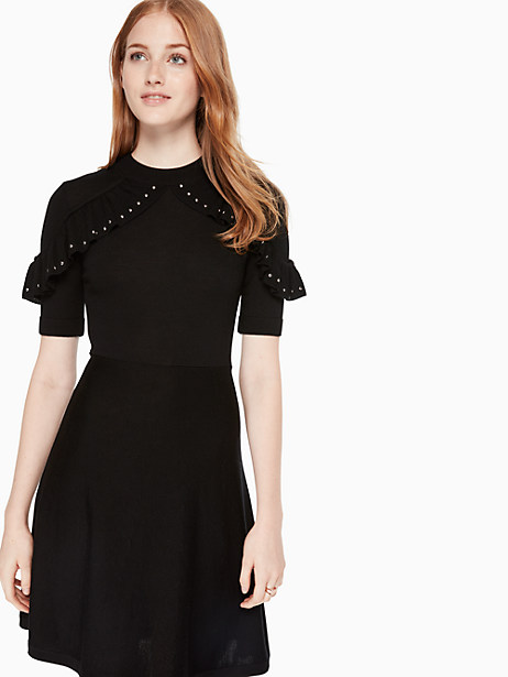 ruffle studded sweater dress, black, large by kate spade new york