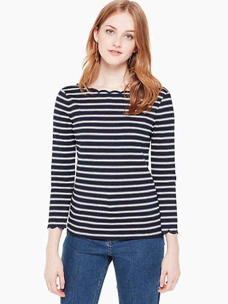 stripe scallop knit top by kate spade new york