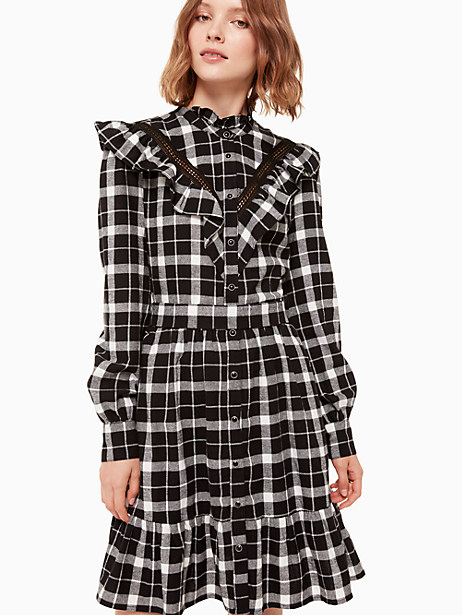 rustic plaid flannel dress, black, large by kate spade new york