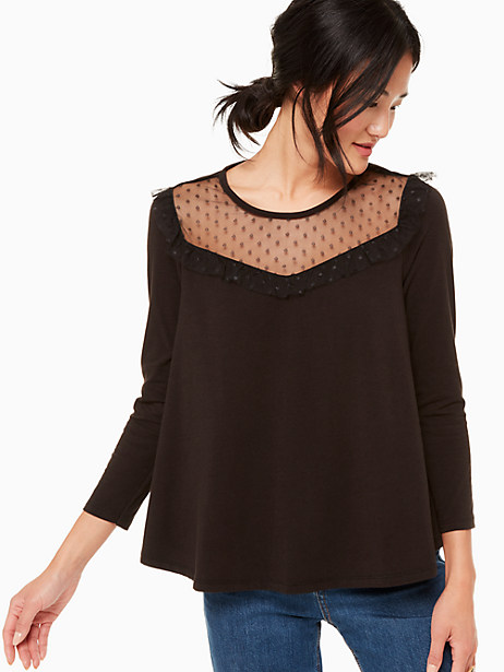 point d'esprit knit top, black, large by kate spade new york