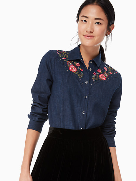embroidered chambray top, dark wash, large by kate spade new york