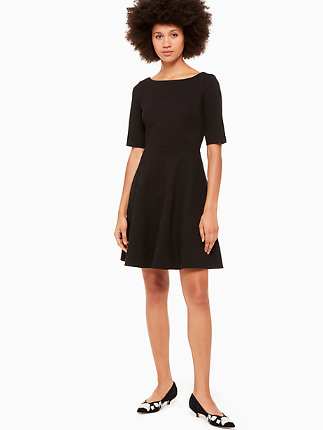 lace up ponte dress, black, large by kate spade new york