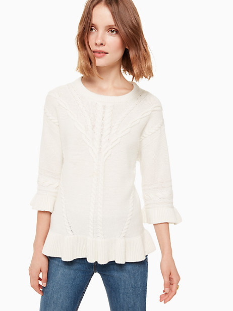 cable sweater, french cream, large by kate spade new york