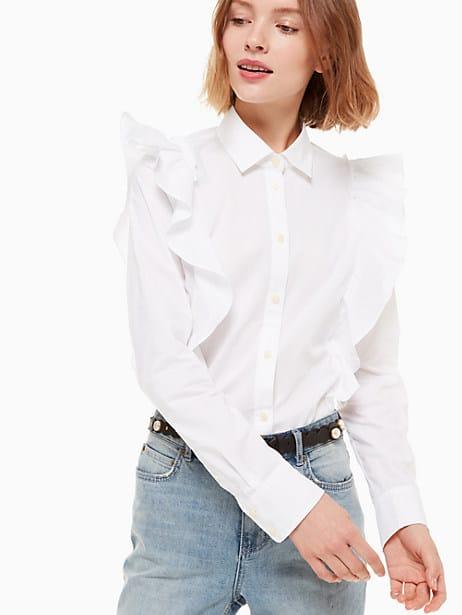 poplin ruffle shirt by kate spade new york