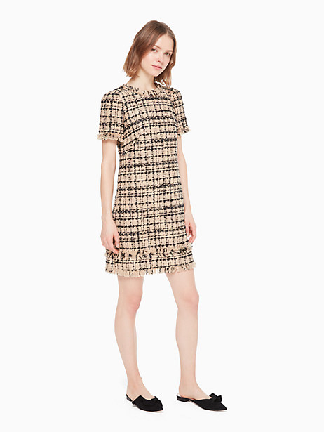 heart it bi-color tweed dress, roasted peanut/black, large by kate spade new york