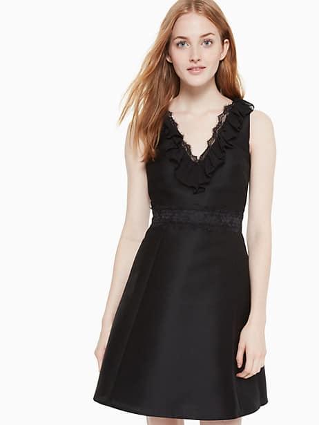 lace mikado dress, black, large by kate spade new york