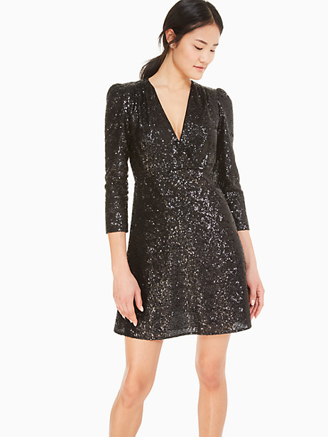 we took the little black dress up a notch (or three) by covering it in gorgeous sequins and adding a plunging neckline. wear it on new year\\\'s eve, to holiday parties, winter weddings or anytime you feel like dressing up. Kate Spade Sequin Dress, Black - 4