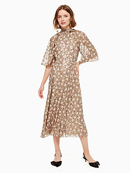 floral park clip dot midi dress, roasted peanut, medium