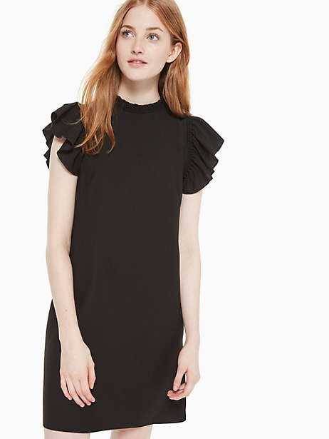 ruffle crepe dress, black, large by kate spade new york