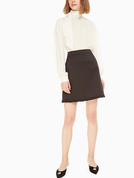 bakery dot jacquard skirt, black, large by kate spade new york