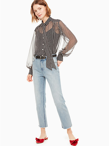 houndstooth chiffon blouse, , rr_productgrid