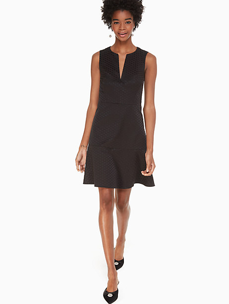 this feminine a-line dress cut from polished jacquard in our bakery dot print goes seamlessly from desk to dinner. we\\\'d just add a metallic clutch and a pair of stilettos to finish the look. Kate Spade Bakery Dot Jacquard Dress, Black - 14