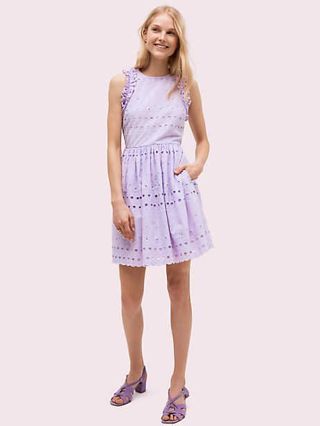 spade eyelet mini dress, frozen lilac, large by kate spade new york