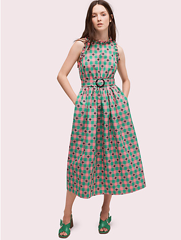 gingham spade belted dress, , rr_productgrid
