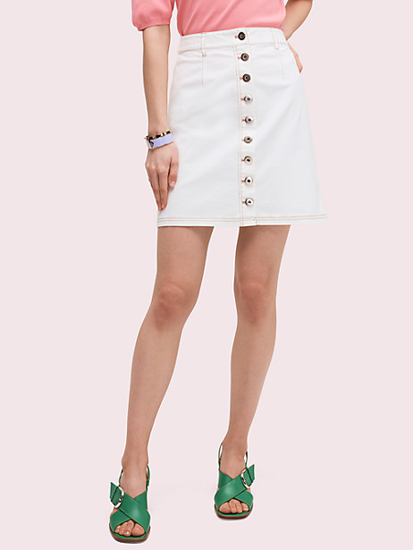 button front mini skirt, cream, large by kate spade new york