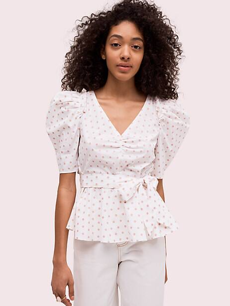 dot cotton drape blouse, french cream/dried rose petal, large by kate spade new york