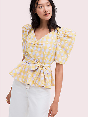 Bluse mit Gingham- und Pik-Muster, , rr_productgrid