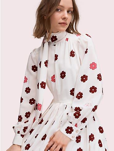 floral kiss tie-neck dress, , rr_productgrid