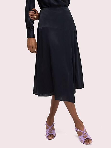 silk midi skirt, black, large by kate spade new york