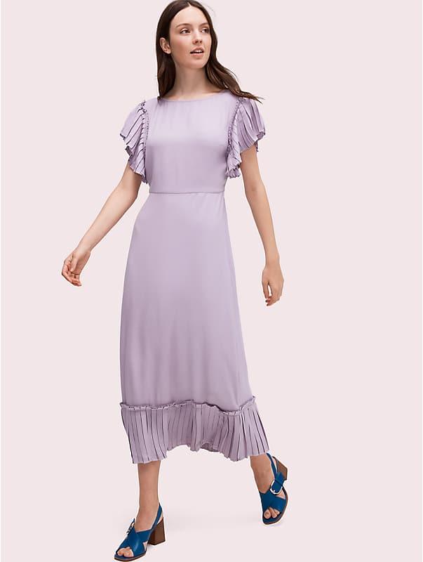 pleated crepe dress, , rr_large