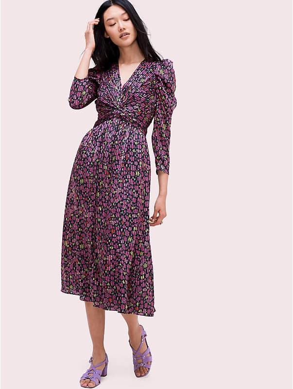 Devoré-Kleid mit Textmarker-Blumenmuster, , rr_large