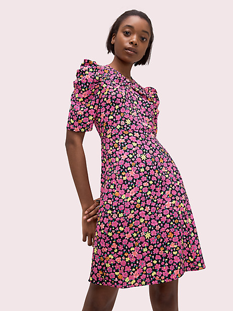marker floral a-line dress, black, large by kate spade new york