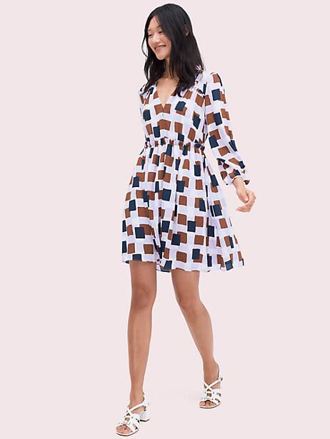 geo squares mini dress, frozen lilac, large by kate spade new york