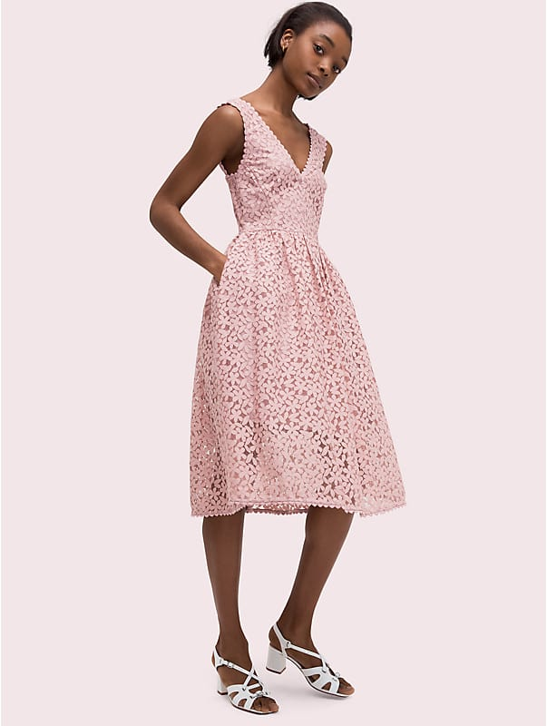 flora lace fit and flare dress, , rr_large