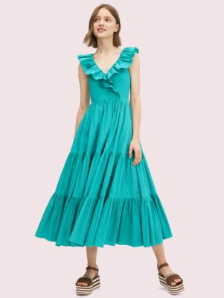 Poplin ruffle tiered dress   Kate Spade New York