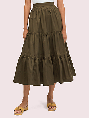 poplin tiered midi skirt by kate spade new york non-hover view