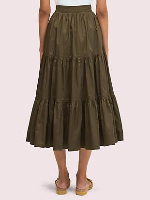 poplin tiered midi skirt by kate spade new york hover view