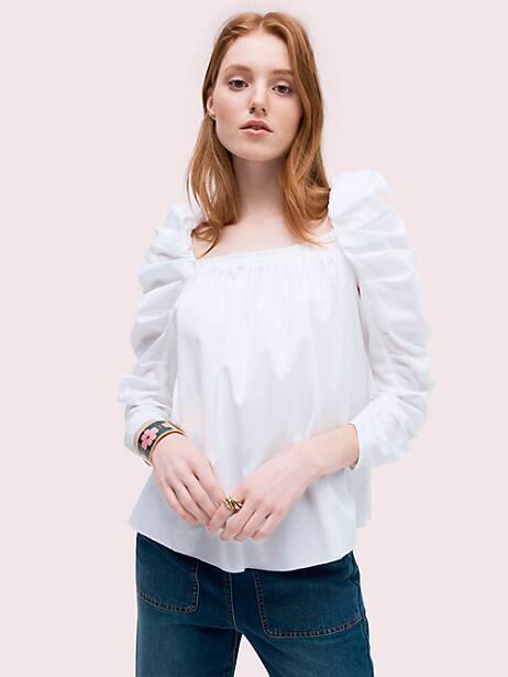 Poplin square neck blouse   Kate Spade New York