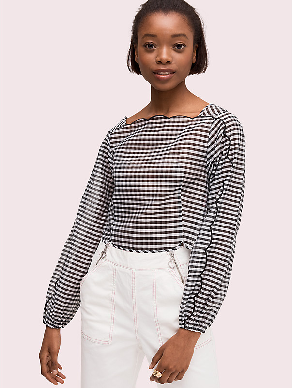 embroidered gingham blouse , , rr_large
