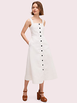 button front midi dress, fresh white, medium