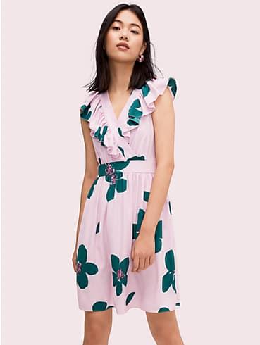 Kleid in A-Linie mit großem Blumenmuster, , rr_productgrid