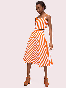 deck stripe midi skirt, mirage pink/traffic orange, medium