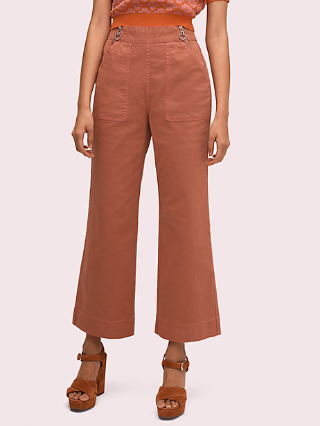 denim zip flare pant, nearly nude, large by kate spade new york
