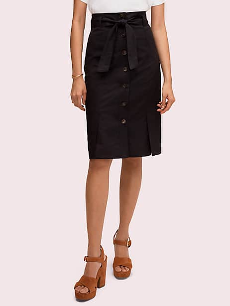 button pencil skirt, black, large by kate spade new york