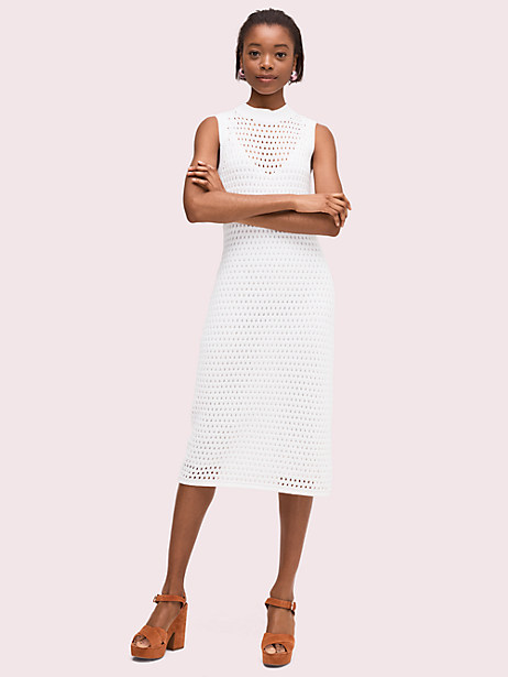 open stitch sweater dress, fresh white, large by kate spade new york