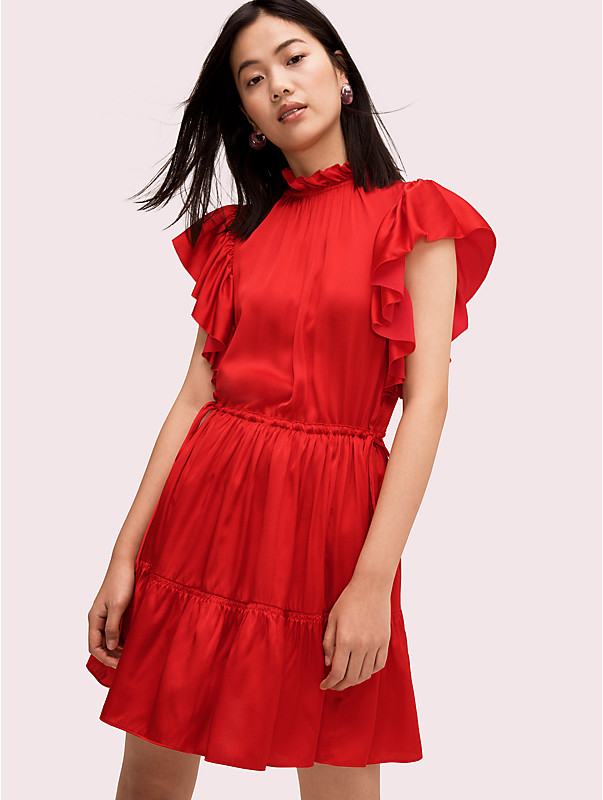 tiered high neck dress , , rr_large