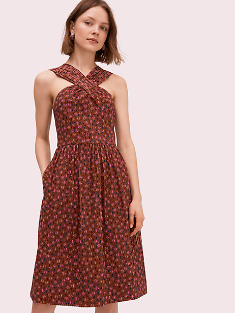 floradoodle halter dress, warm caramel, large by kate spade new york