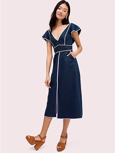 linen contrast trim dress, , rr_productgrid