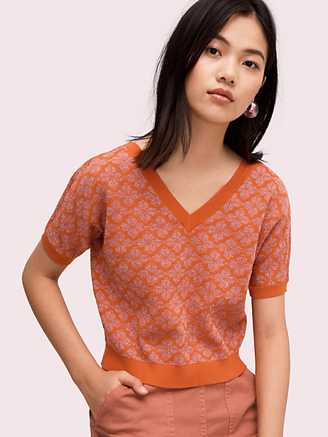 floral spade v-neck sweater, traffic orange, large by kate spade new york