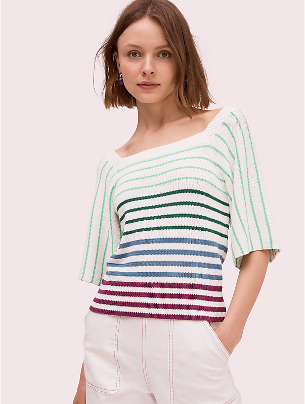 striped square neck sweater, , rr_large