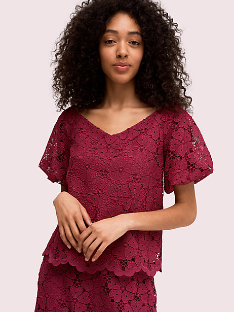spade lace top, beet juice, large by kate spade new york