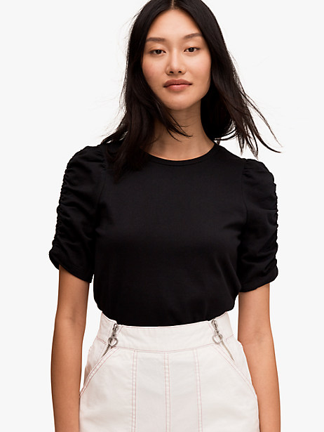 ruched sleeve tee, black, large by kate spade new york