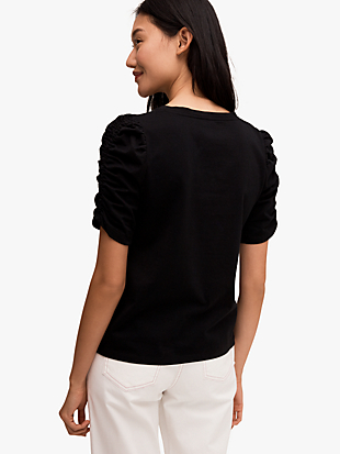 ruched sleeve tee by kate spade new york hover view