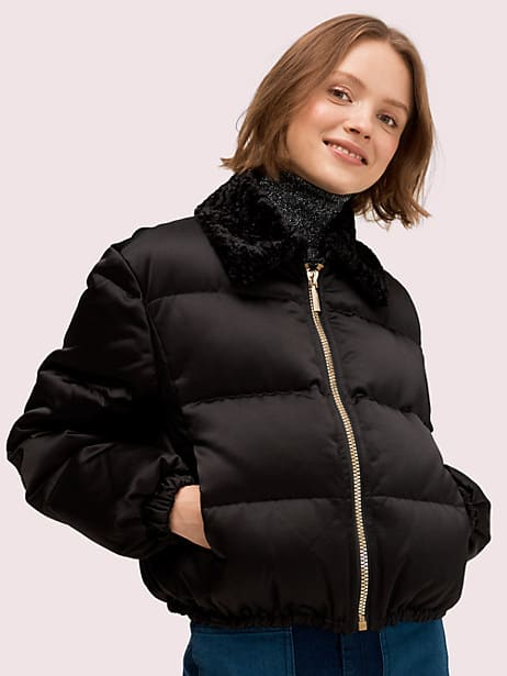 satin puffer jacket by kate spade new york