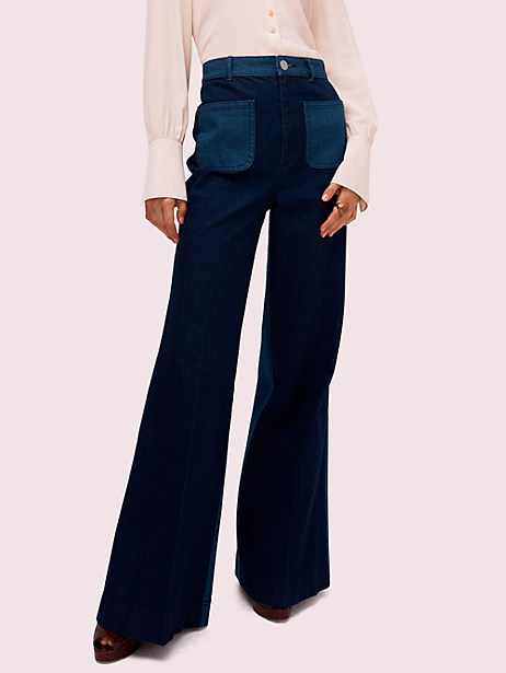 colorblock denim flare pant by kate spade new york