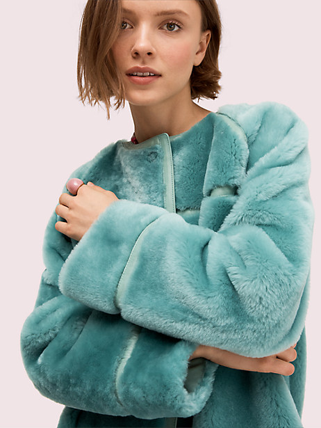 Shearling leather trim coat   Kate Spade New York